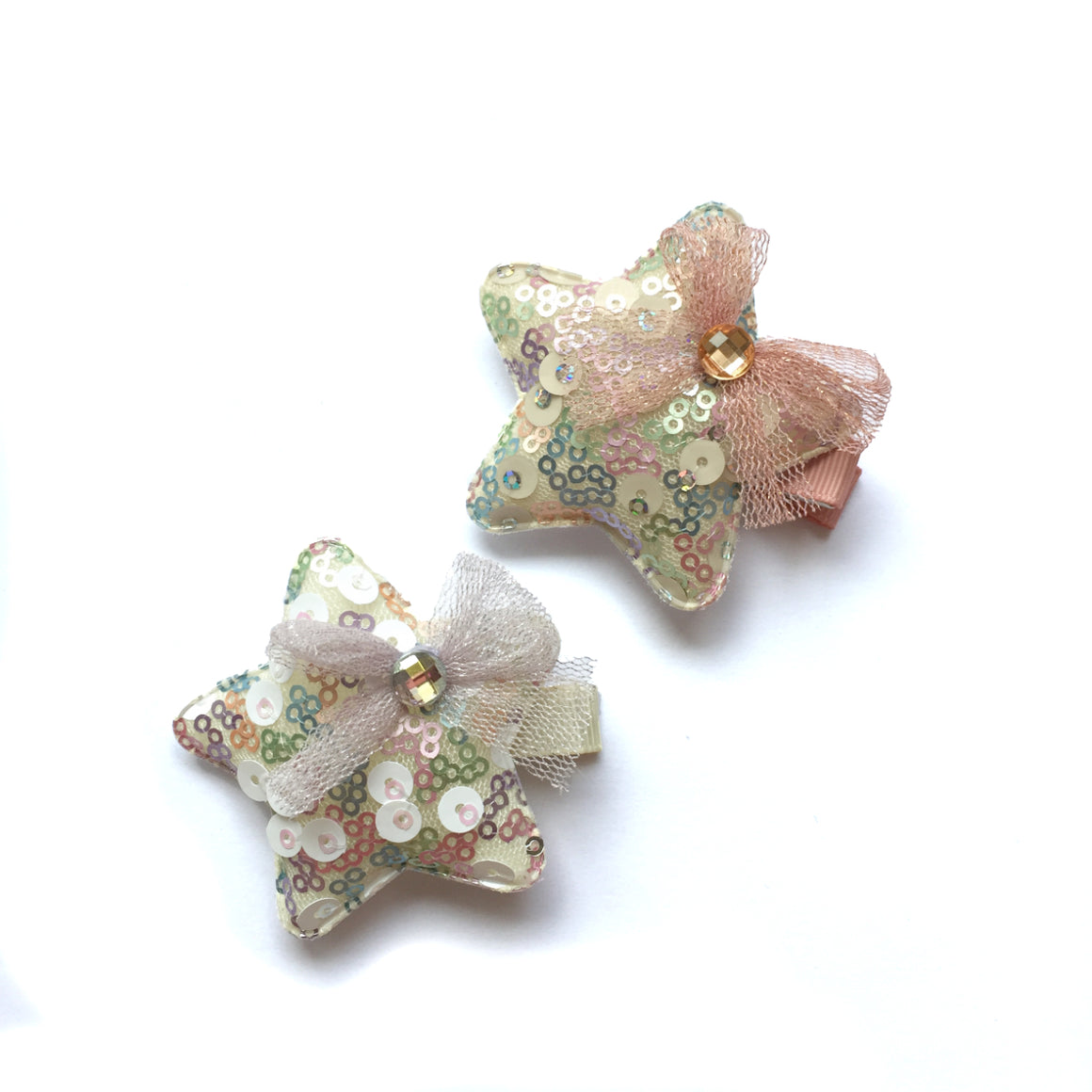 hello shiso hair accessories for girls // iridescent sequin star clips