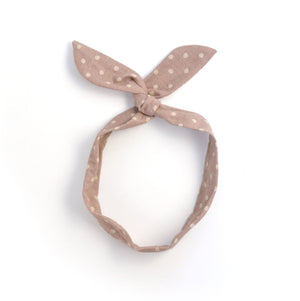mauve polka dot twist tie // hello shiso hair accessories for girls