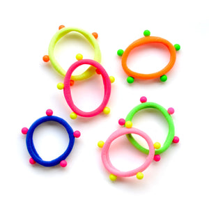 bright/neon studded ponytail holders // hello shiso hair accessories for girls
