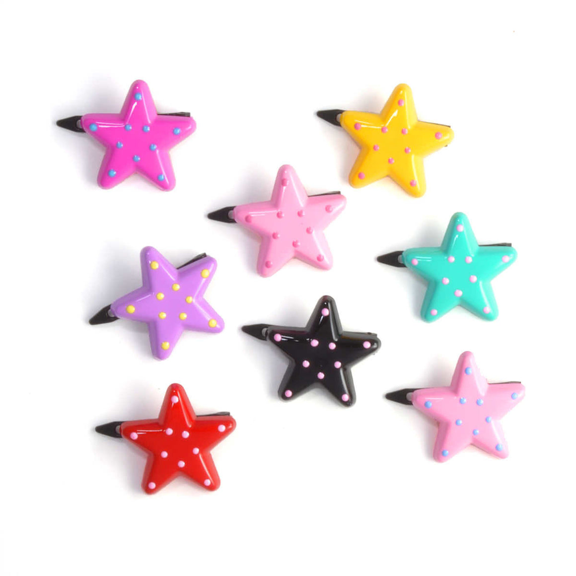 plastic polkadot star clip // hello shiso hair accessories for girls