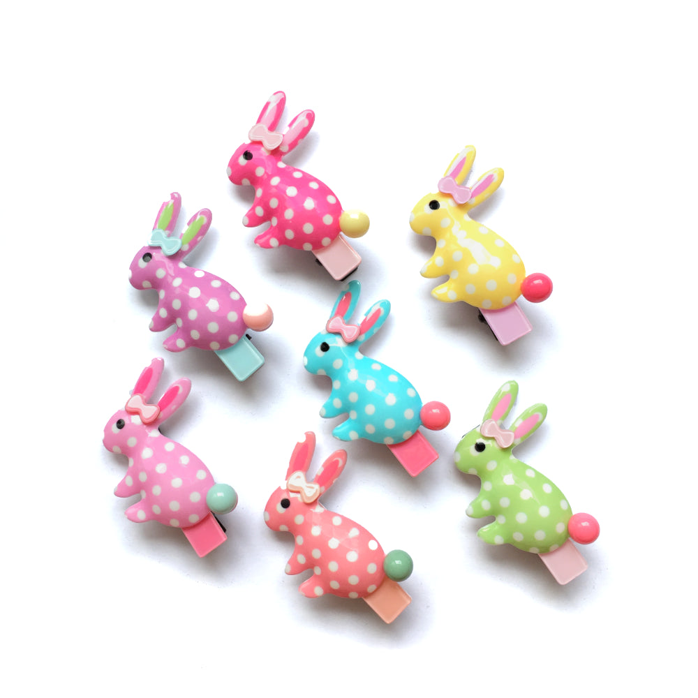 hello shiso hair accessories for girls // acrylic polkadot bunny clips.