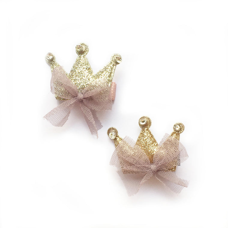 hello shiso hair accessories for girls // puffy sparkle crown clip