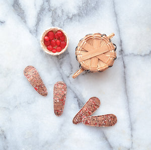 red cork clips // hello shiso hair accessories for girls