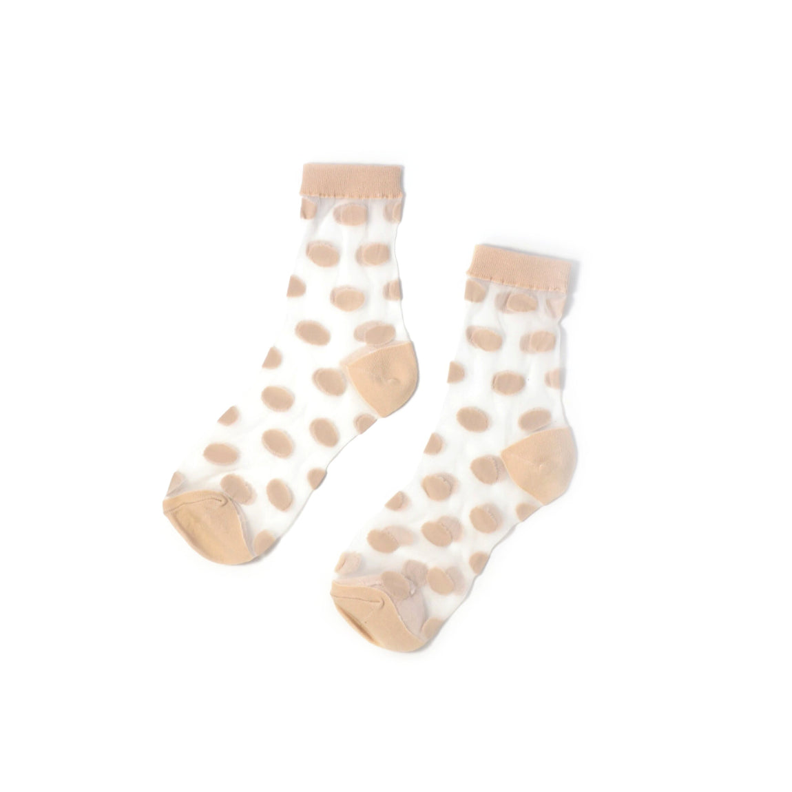 women's polka dot sheer crew socks in beige // hello shiso hair accessories for girls