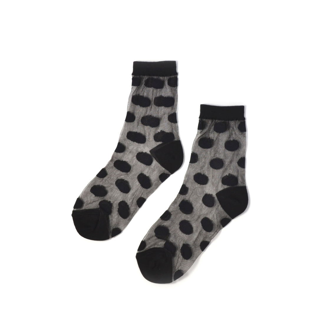 women's polka dot sheer crew socks in black // hello shiso hair accessories for girls