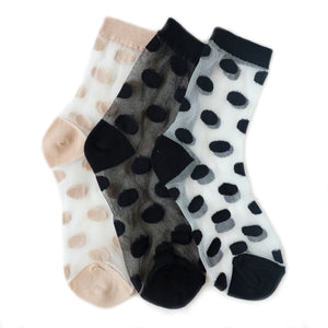 women's polka dot sheer crew socks in white // hello shiso hair accessories for girls