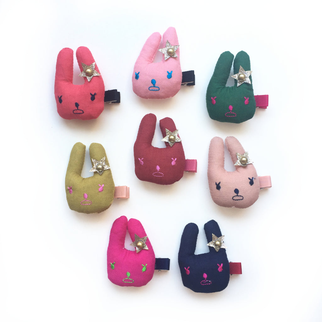 hello shiso accessories for girls // fabric bunny clips