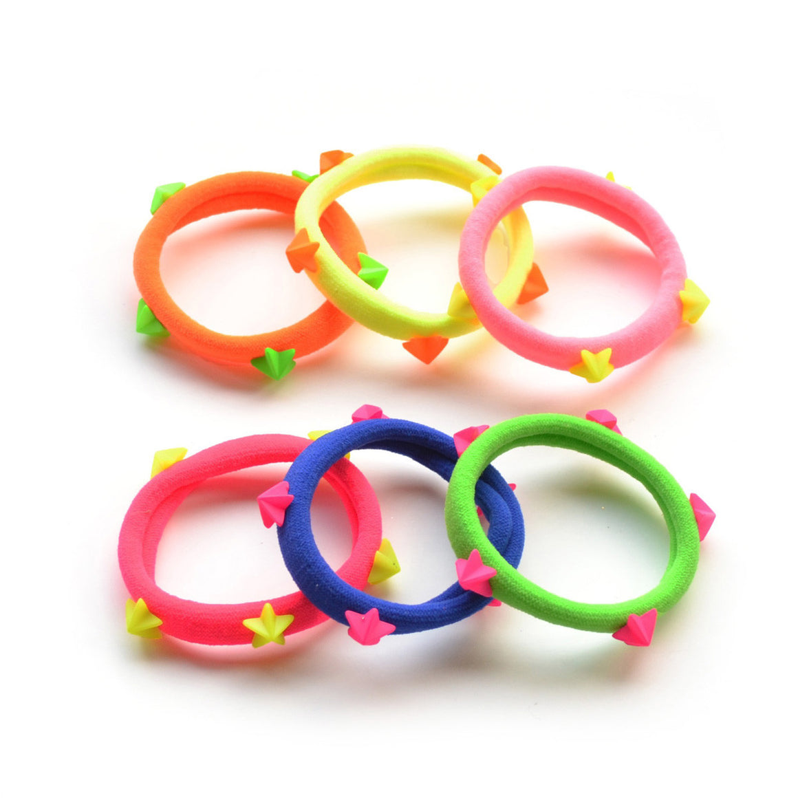 bright/neon star stud ponytail holders // hello shiso hair accessories for girls