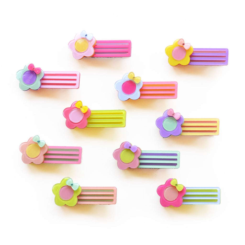striped flower clip // hello shiso hair accessories for girls