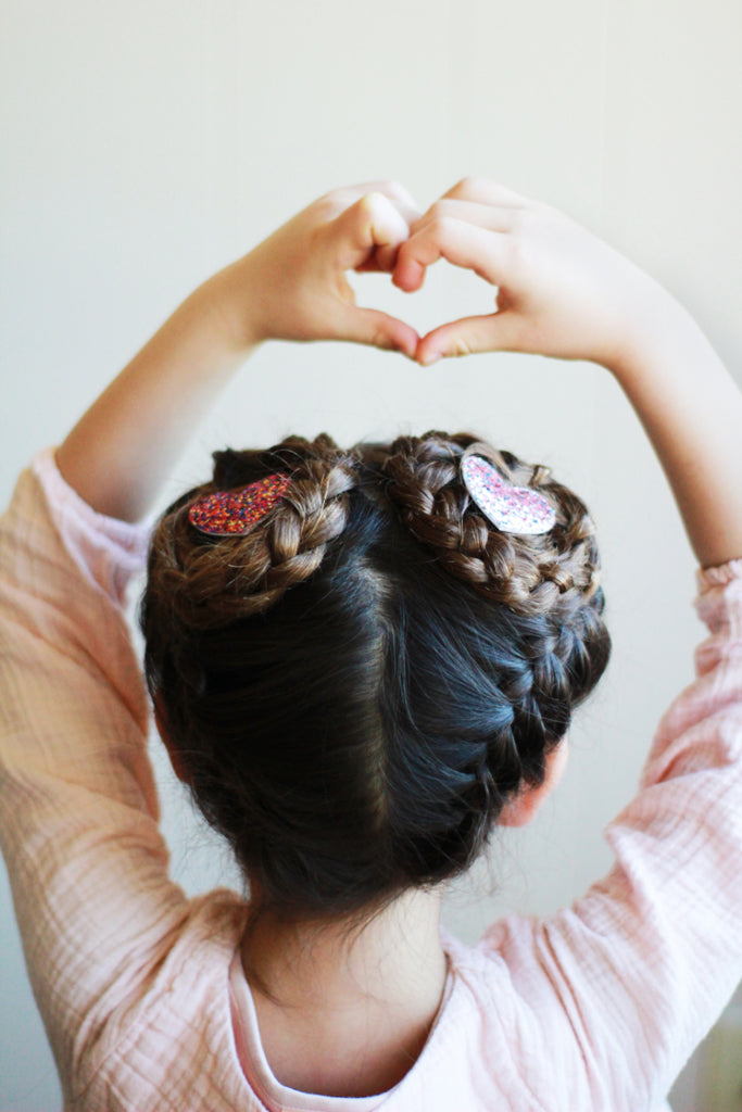 upside down French braids for girls with hello shiso glitter heart clips