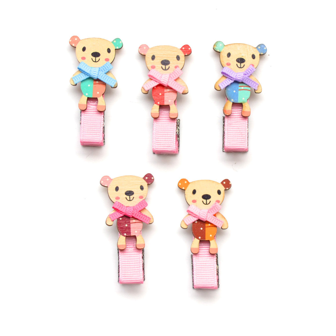 wood teddy bear clip // hello shiso hair accessories for girls