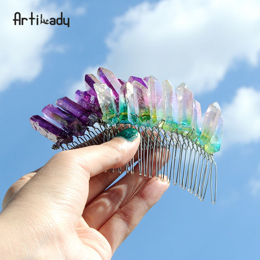 Raw Quartz Crystal Hair Comb