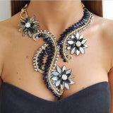 Maxi Statement Crystal Flower Necklace