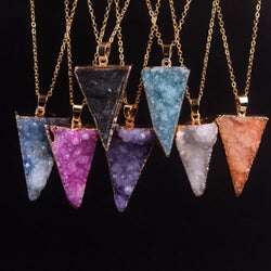 Druzy Stones Arrow Triangle Shaped Crystal Pendant