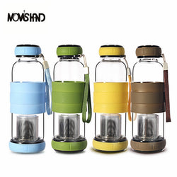 Thermal Covered Glass Water Bottle With Tea Infuser
