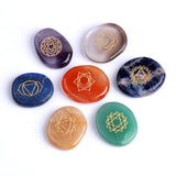 Chakras Symbols On Palm Crystal Stones for Reiki Healing Energy Balancing
