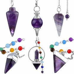 Natural Crystal Gem Pendulum for Reiki Balancing/ Dowsing Divination