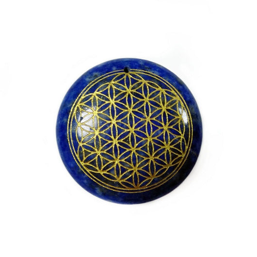 Blue Lapis Lazuli Carved Flower of Life for Reiki Healing