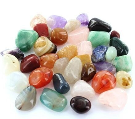 25pcs Mixed Quartz Tumbled Crystals w/ Pouch
