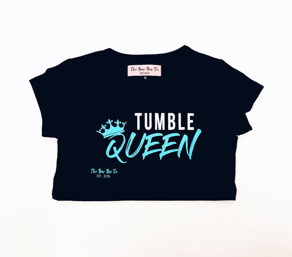 Queen Crop Teal and white