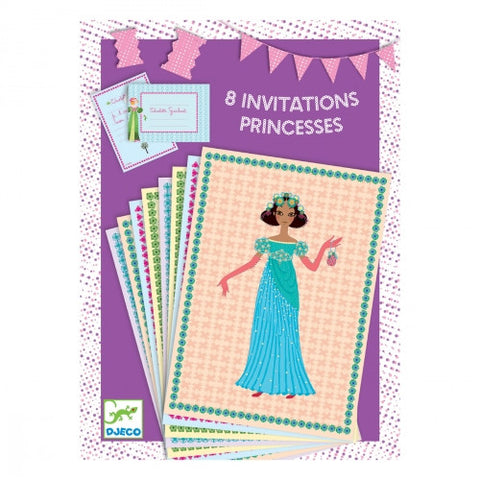 8 invitations Princesse