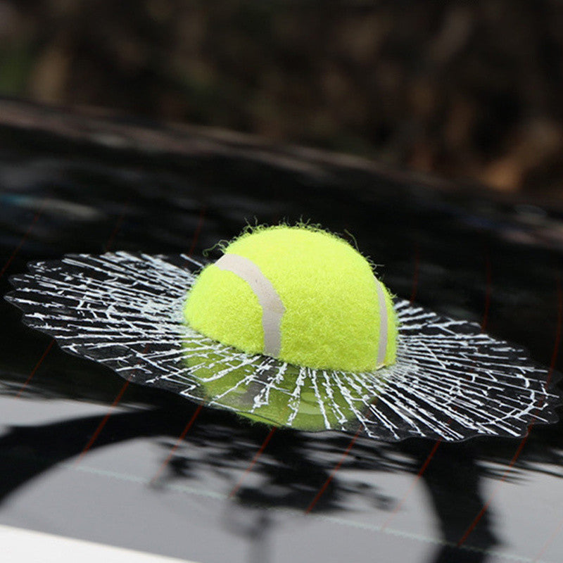 Novelty Ball Hits Car Window Funny Auto Decal