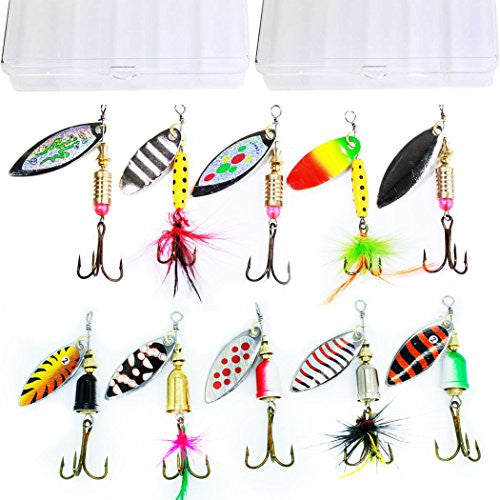 10pcs Fishing Lure Spinnerbait , with 2 Tackle Boxes by Tbuymax
