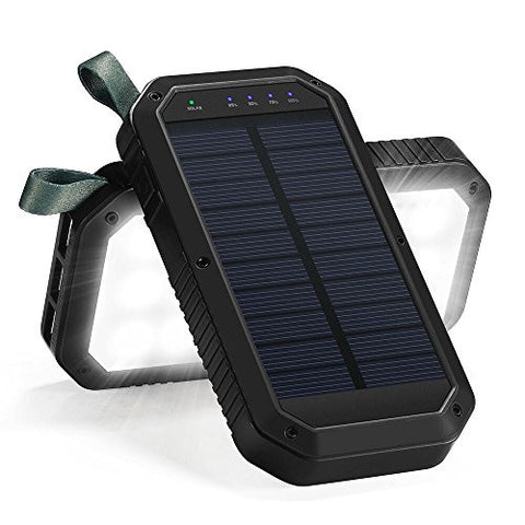 Solar Charger, 3-Port USB Solar Power Bank Portable Battery Cellphone Charger