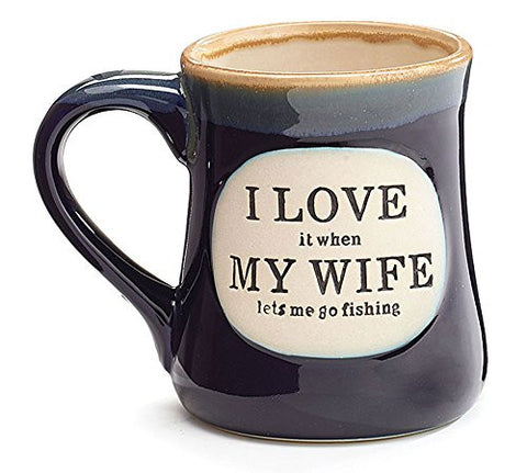 """I Love My Wife"" Porcelain 18 oz Fishing Coffee Mug, Fun Gift for Our Fisherman"