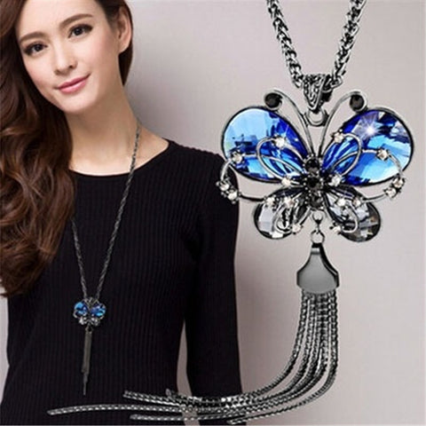 Long Chain Butterfly Necklace with Blue Crystal