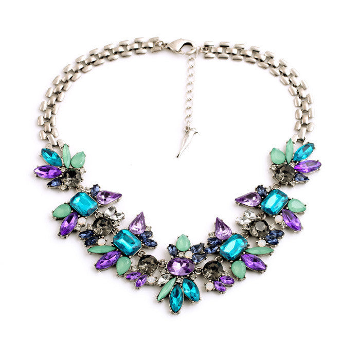 Crystal Flower Pendants Statement Necklace