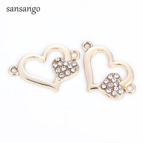 10pcs New Crystal Double Love Heart Cross Alloy Charm Connector For Women DIY Making Charm Bracelet Jewelry Accessories