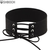 Lace up Black Velvet Choker Necklace