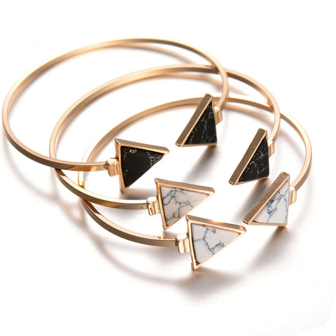 Gold Tone Trendy White Black Triangle Faux Marbleized Stone Cuff Bangle Bracelet