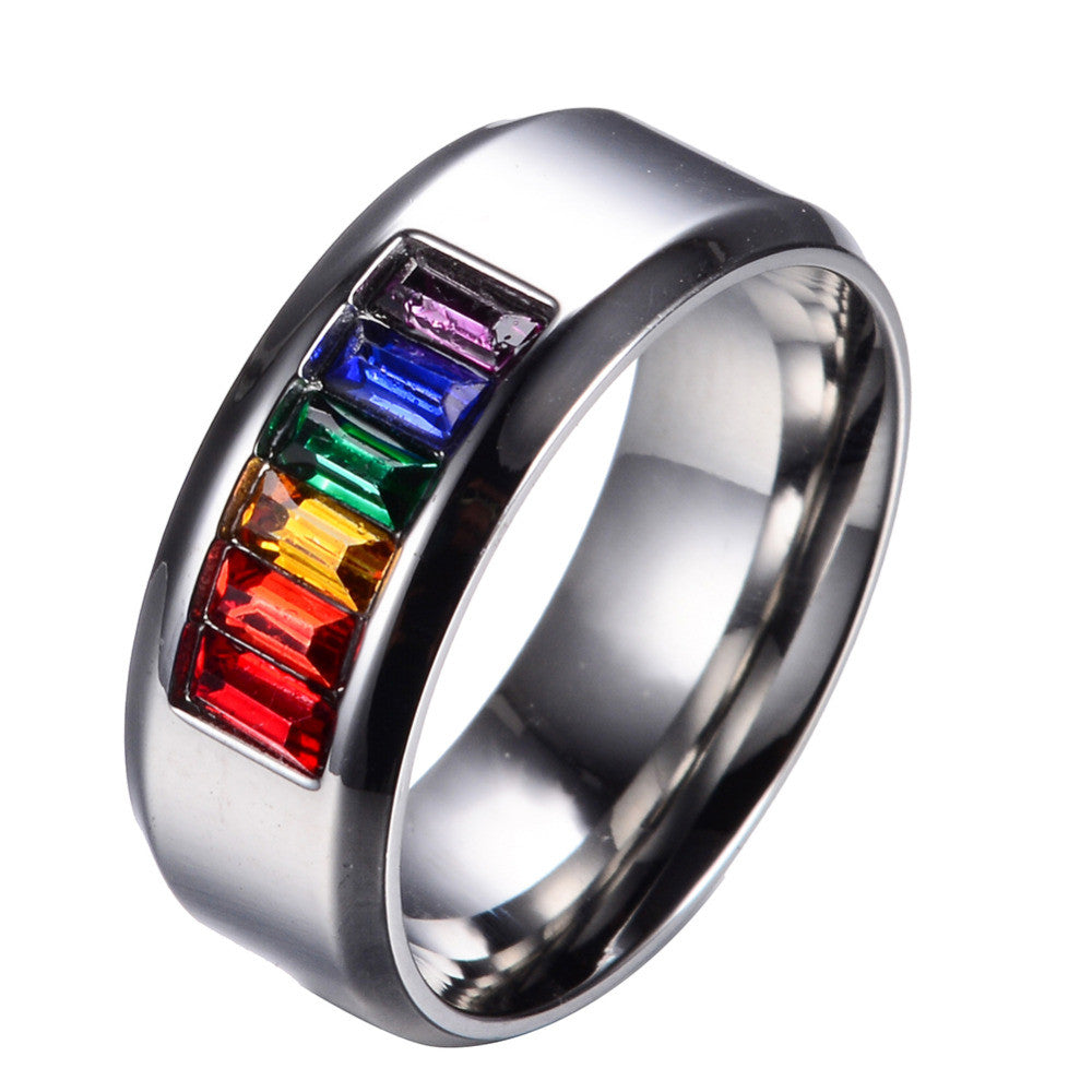 Fine Colorful Rainbow and Silver Ring