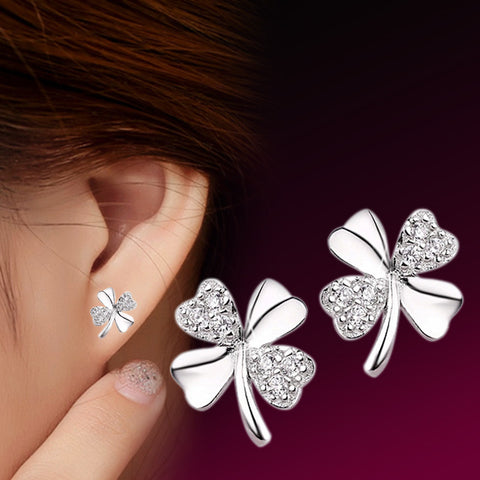 Love of Silver Lucky Clover Earrings