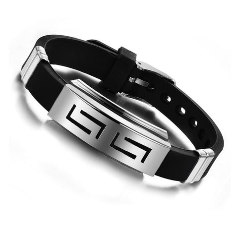Fashionable Wristband/Black Punk Rubber Silicone Stainless Steel Men Bracelets