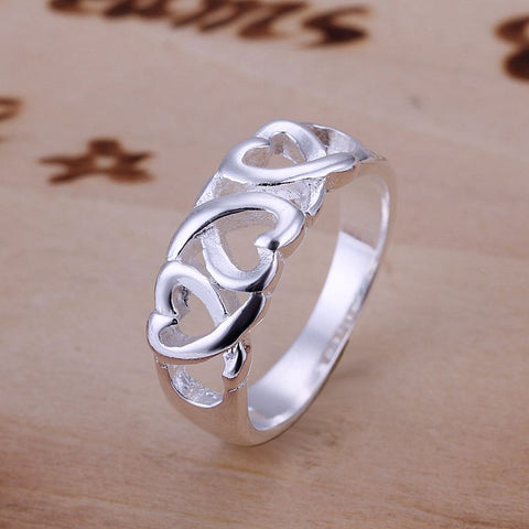 Silver Plated Three Heart Ring