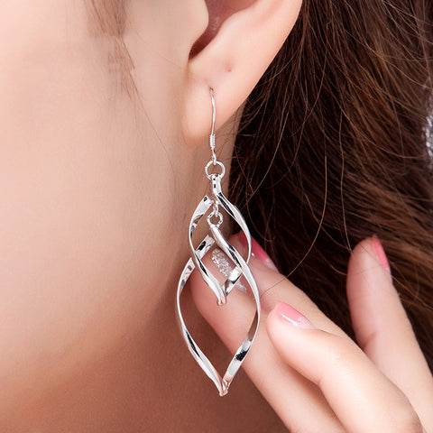 Long  Silver Plated Leaves Tassel Drop Earrings