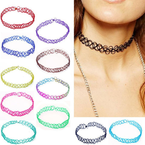 2PCS/ Vintage Stretch Tattoo Choker Necklace