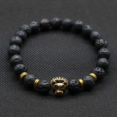 Black Lave Stone Beads with Gold and Silver Plated Leo Lion Head Charm Bracelet