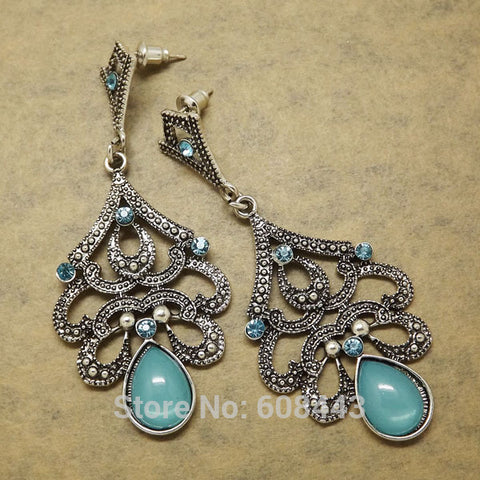 Antique Silver Bohemia Blue Retro Vintage Earrings