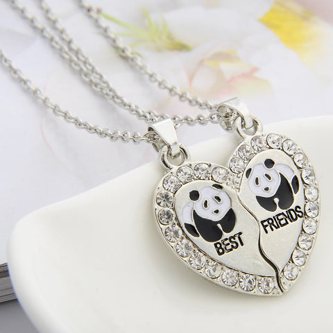 "Broken Heart 2 Parts Animal Panda ""best friend"" Rhinestone Pendant Necklace"