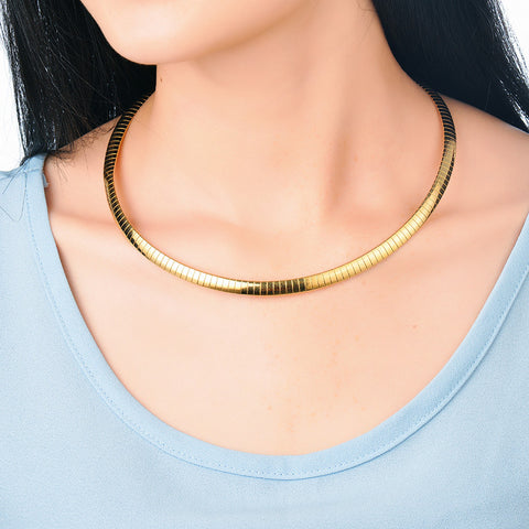 Elegant Silver Gold Choker Necklace