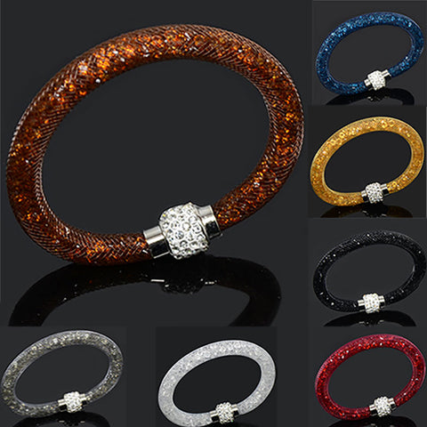 Multicolor Clay Crystal Magnetic Clasp Bracelet with Charm