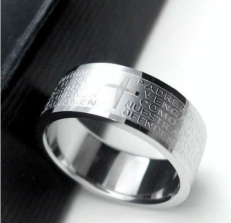 Steel Bible Lord's Prayer Cross Rings