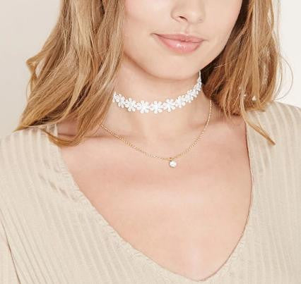 Flower Lace Cloth Choker Necklace