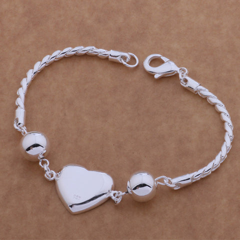 Silver Plated with Heart Pendant Bracelet