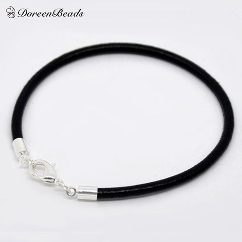 Black Leather Charm Bracelets