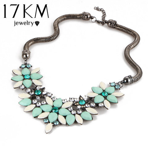Retro Style Colorful Gem Rhinestone Flower Choker Necklace